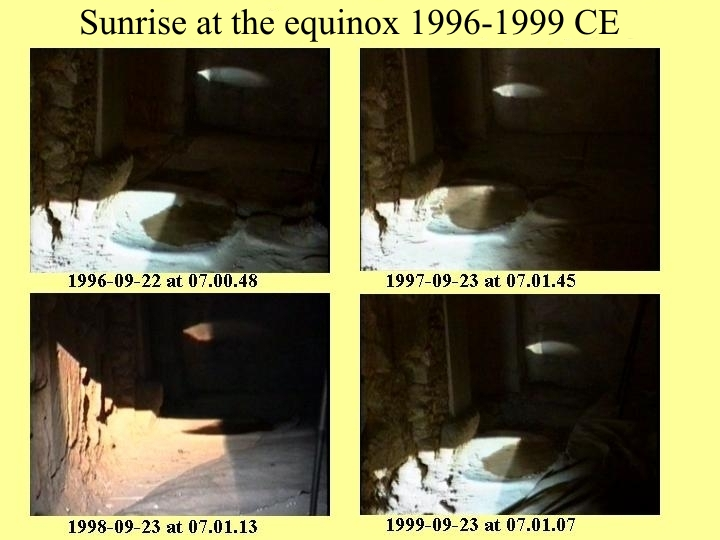 Sunrise at the equinoxes in a 4-year cycle, 1996-1999 BCE