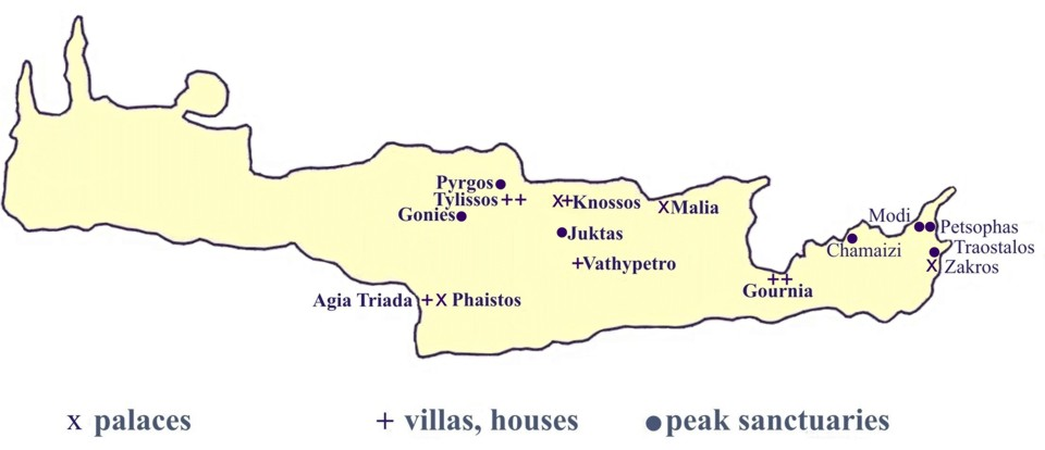 map of Crete with project sites